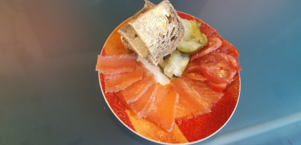Dinner, home cured salmon